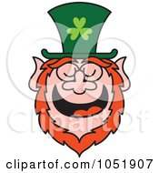 Royalty Free Vector Clip Art Illustration Of A St Patricks Day Leprechaun Laughing by Zooco