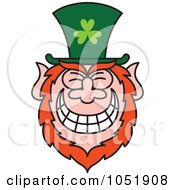 Royalty Free Vector Clip Art Illustration Of A St Paddys Day Leprechaun Grinning by Zooco