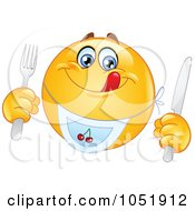 Royalty Free Vector Clip Art Illustration Of A Hungry Emoticon Wearing A Bib