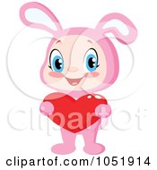 Royalty Free Vector Clip Art Illustration Of A Kid In A Pink Bunny Suit Holding A Valentine Heart