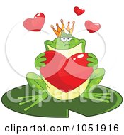 Royalty Free Vector Clip Art Illustration Of A Valentine Frog Prince Holding A Heart by yayayoyo