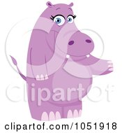 Royalty Free Vector Clip Art Illustration Of A Purple Hippo Standing And Presenting by yayayoyo