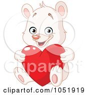Royalty Free Vector Clip Art Illustration Of A White Teddy Bear Holding A Valentine Heart by yayayoyo