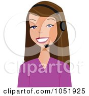 Royalty Free Vector Clip Art Illustration Of A Pretty Brunette Customer Service Agent Wearing A Headset