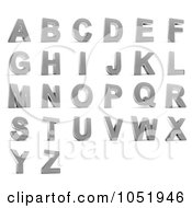 Royalty Free 3d Clip Art Illustration Of A Digital Collage Of 3d Chrome Alphabet Letters A Through Z