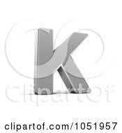 Royalty Free 3d Clip Art Illustration Of A 3d Chrome Alphabet Symbol Letter K