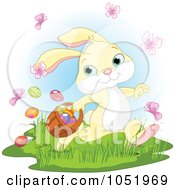 Royalty Free Vector Clip Art Illustration Of A Yellow Easter Bunny With Butterflies And Easter Eggs
