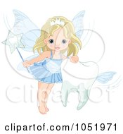Royalty Free Vector Clip Art Illustration Of A Cute Tooth Fairy Girl With A Flying Tooth by Pushkin