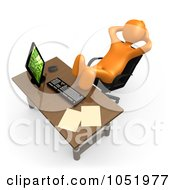 3d Orange Employee Being Lazy At An Office Desk