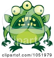 Royalty Free Vector Clip Art Illustration Of A Green Alien Monster With Messed Up Teeth