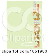 Royalty Free Vector Clip Art Illustration Of A Right Side Totem Pole Border On A Green Background