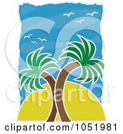 Royalty Free Vector Clip Art Illustration Of A Sun Behind Palm Trees Against A Blue Sky With Seagulls by mheld