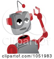 Bored Gray And Red Robot