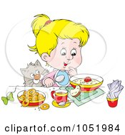 Royalty Free Vector Clip Art Illustration Of A Cat Watching A Blond Girl Eat Breakfast by Alex Bannykh