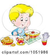 Royalty Free Vector Clip Art Illustration Of A Boy Eating A Healthy Breakfast by Alex Bannykh