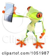3d Argie Frog Chatting On A Cell Phone