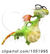 Royalty Free 3d Clip Art Illustration Of A 3d Dragon Wearing Glasses And Flying