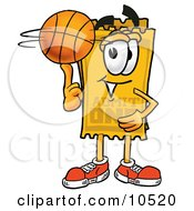Yellow Admission Ticket Mascot Cartoon Character Spinning A Basketball On His Finger