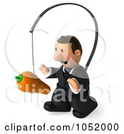 Royalty Free 3d Clip Art Illustration Of A 3d Business Toon Guy Following A Carrot On A Stick 3