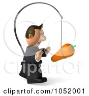 Royalty Free 3d Clip Art Illustration Of A 3d Business Toon Guy Following A Carrot On A Stick 2
