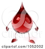 Royalty Free 3d Clip Art Illustration Of A 3d Blood Drop Character