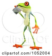 Royalty Free 3d Clip Art Illustration Of A 3d Argie Frog Chatting On A Cell Phone by Julos