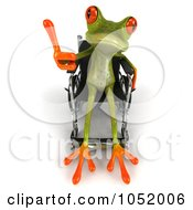 Royalty Free 3d Clip Art Illustration Of A Disabled 3d Green Tree Frog Using A Wheelchair And Holding A Thumb Up