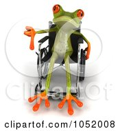 Royalty Free 3d Clip Art Illustration Of A Disabled 3d Green Tree Frog Using A Wheelchair And Holding A Thumb Down