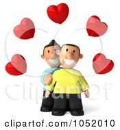 Royalty Free 3d Clip Art Illustration Of A 3d Gay Couple Under Hearts by Julos