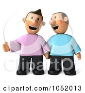 Royalty Free 3d Clip Art Illustration Of A 3d Gay Couple Holding Hands And Laughing by Julos