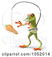 Royalty Free 3d Clip Art Illustration Of A 3d Springer Frog Chasing A Carrot On A Stick 2
