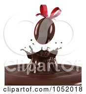 Royalty Free 3d Clip Art Illustration Of A 3d Easter Egg Candy Splashing Into Chocolate