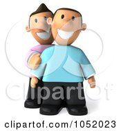 Royalty Free 3d Clip Art Illustration Of A 3d Gay Couple Smiling by Julos