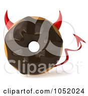 Royalty Free 3d Clip Art Illustration Of A 3d Chocolate Frosted Doughnut Devil