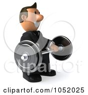 Royalty Free 3d Clip Art Illustration Of A 3d Business Toon Guy Lifting A Barbell