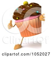 Royalty Free 3d Clip Art Illustration Of A 3d Chocolate Frosted Cupcake Holding A Thumb Up By A Blank Sign