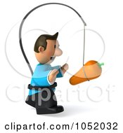 Royalty Free 3d Clip Art Illustration Of A 3d Casual Man Chasing A Carrot On A Stick 2