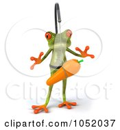 Royalty Free 3d Clip Art Illustration Of A 3d Springer Frog Chasing A Carrot On A Stick 1
