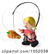 Royalty Free 3d Clip Art Illustration Of A 3d Casual Woman Chasing A Carrot On A Stick