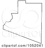 Royalty Free Vector Clipart Illustration Of A Black Outline Of Yuma County Arizona United States by Jamers
