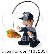 Royalty Free 3d Clip Art Illustration Of A 3d Police Man Chasing A Carrot On A Stick 3