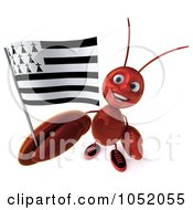 Royalty Free 3d Clip Art Illustration Of A 3d Lobster With A Breton Flag 1