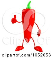 Royalty Free 3d Clip Art Illustration Of A 3d Red Chili Pepper Character Holding A Thumb Up by Julos