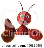 Royalty Free 3d Clip Art Illustration Of A 3d Lobster Holding A Blank Sign Board 2