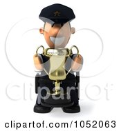 Royalty Free 3d Clip Art Illustration Of A 3d Sheriff Toon Guy Holding A Trophy Cup 2