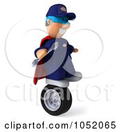 Royalty Free 3d Clip Art Illustration Of A 3d Super Mechanic Balancing On A Tire