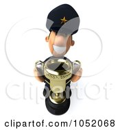 Royalty Free 3d Clip Art Illustration Of A 3d Sheriff Toon Guy Holding A Trophy Cup 1