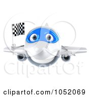 Royalty Free 3d Clip Art Illustration Of A 3d Airplane Character Holding A Checkered Flag