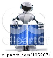 Royalty Free 3d Clip Art Illustration Of A 3d Techno Robot Holding A Solar Panel 4