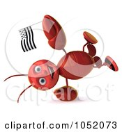 Royalty Free 3d Clip Art Illustration Of A 3d Lobster Doing A Cartwheel With A Breton Flag
